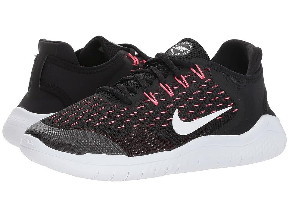 Nike Kids Free RN 2018 (Big Kid) (Black/White/Racer Pink/Volt) Girls Shoes