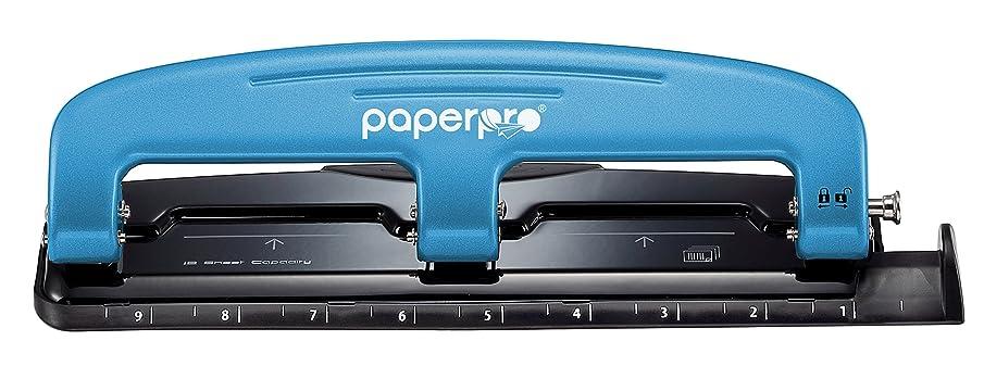 PaperPro inPRESS 12 Reduced Effort 3-Hole Punch, 12 Sheets, Blue (2103)