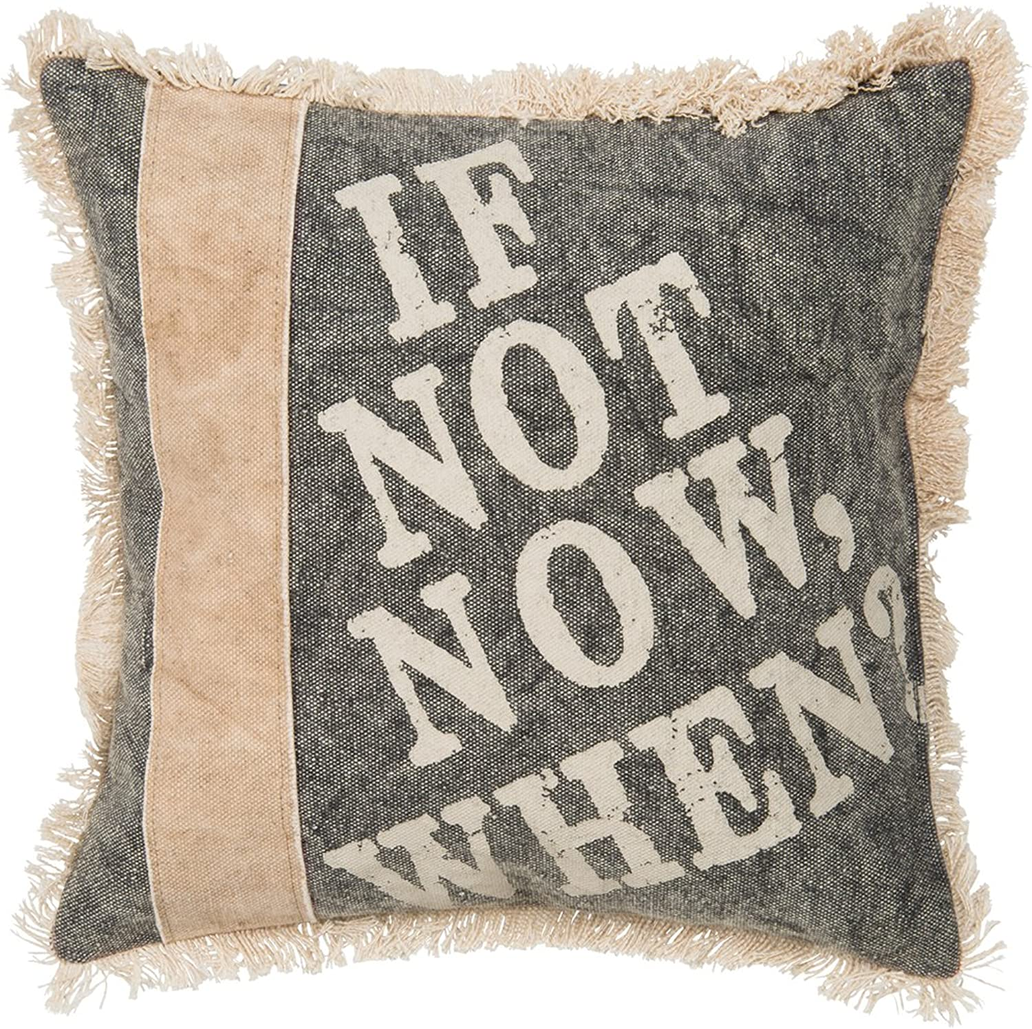 Primitives by Kathy Cotton If Not Now When Canvas Throw Pillow, 10-Inch Square