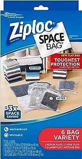 Ziploc Space Bag, Variety Pack, 6 Count (Flat Bag: 2 Medium, 2 Large,1 XL; 1 Suitcase Bag)