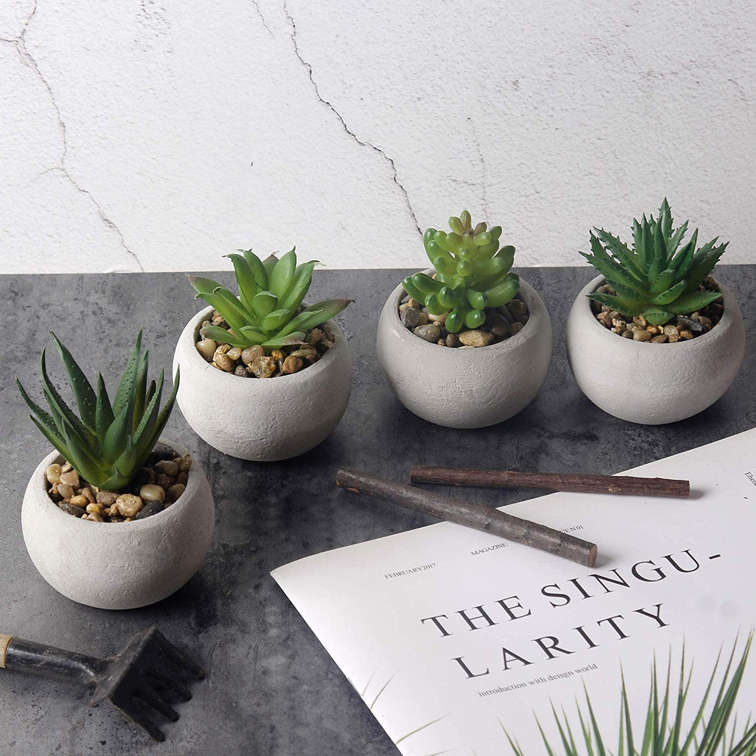 Mini Potted Artificial Succulents/Assorted Decorative Faux Cactus Plants (Set of 4) - for Desk Decor/Indoor/Outdoor/Living Room/Office/Garden/Party