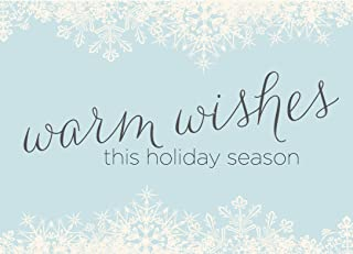 Holiday Greeting Cards - H1507. Greeting Cards with Warm Wishes and Snowflakes Design. Box Set Has 25 Greeting Cards and 26 White with Silver Foil Lined Envelopes.