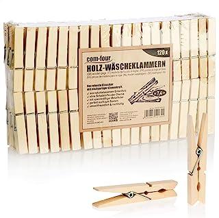 com-four® 120x Pinces à Linge en Bois - Pinces en Bois durables en Bois de Bouleau - Pinces à Linge en Bois Non traitées p...