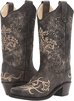 Old West Kids Boots Embroidered Vintage Charcoal Snip Toe (Toddler/Little Kid)