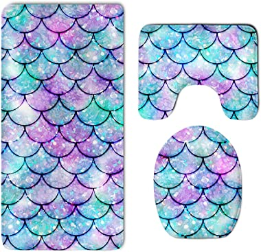 NiYoung Beautiful Sparkling Mermaid Scales Thicken Skidproof Toilet Seat U Shaped Cover Bath Mat Lid Cover