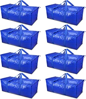 TICONN 8 Pack Extra Large Moving Bags with Zippers & Carrying Handles, Heavy-Duty Storage Tote for Space Saving Moving (Blue)
