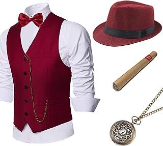 BABEYOND 1920s Mens Gatsby Gangster Vest Costume Accessories Set Fedora Hat