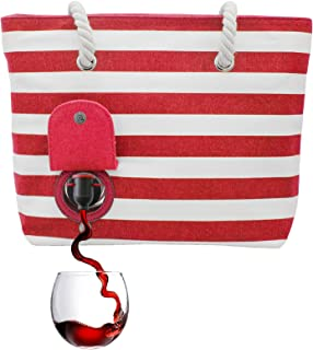 PortoVino Beach Wine Tote (Red/White) - Beach Bag with Hidden, Insulated Compartment, Holds 2 bottles of Wine!