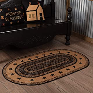 Classic Country Primitive Flooring - Farmhouse Jute Black Stenciled Stars Rug, 3' x 5'