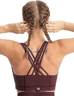 Women's Zip Front Sports Bra Medium Impact Workout Running Crossback Yoga Tops