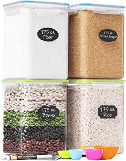 Extra Large Plastic Food Storage Containers with Lids 175oz, For Flour & Sugar - Air tight Kitchen & Pantry Organization B...