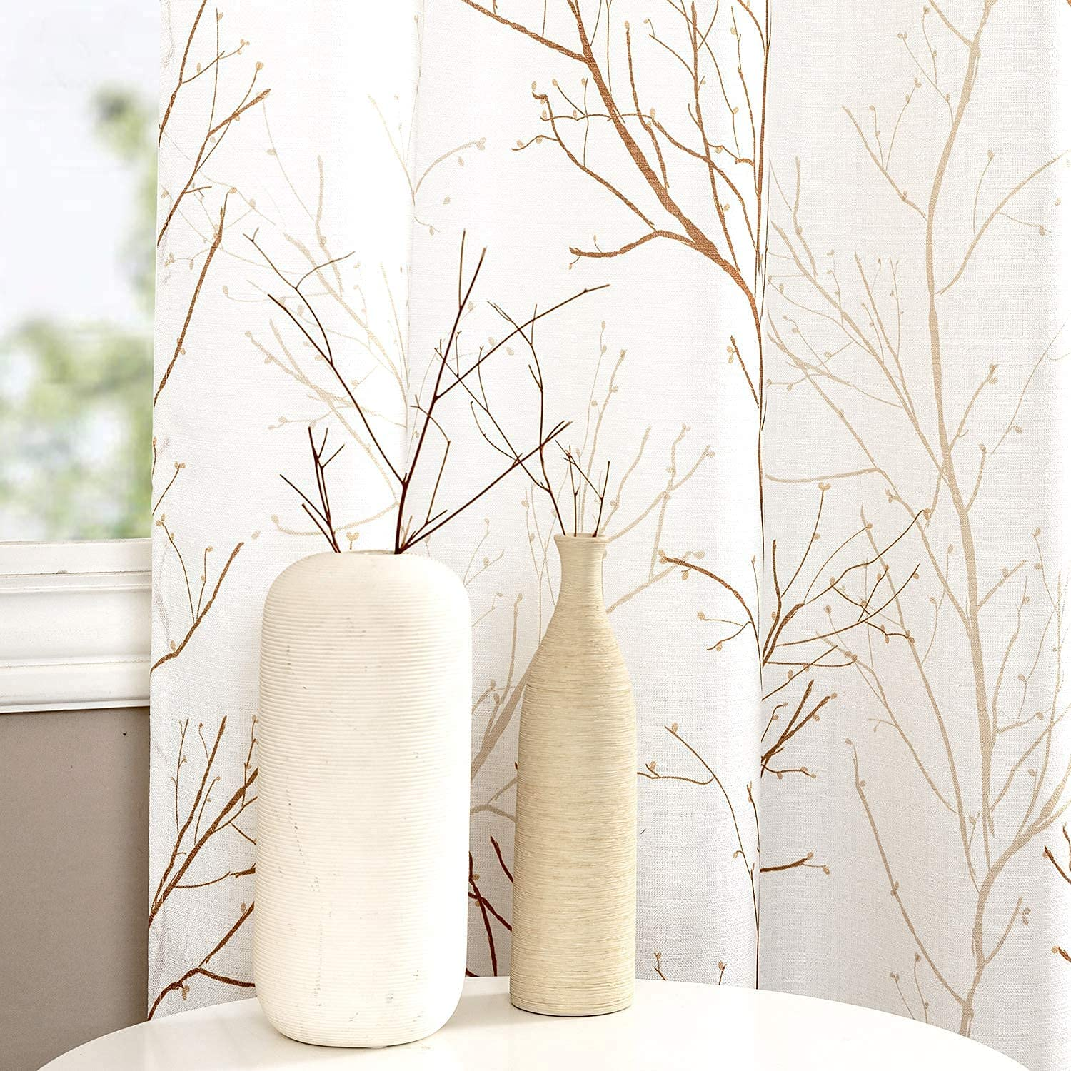 Natural Window Max 45% OFF Price reduction Curtains for Living Room Floral Embroidered Desig
