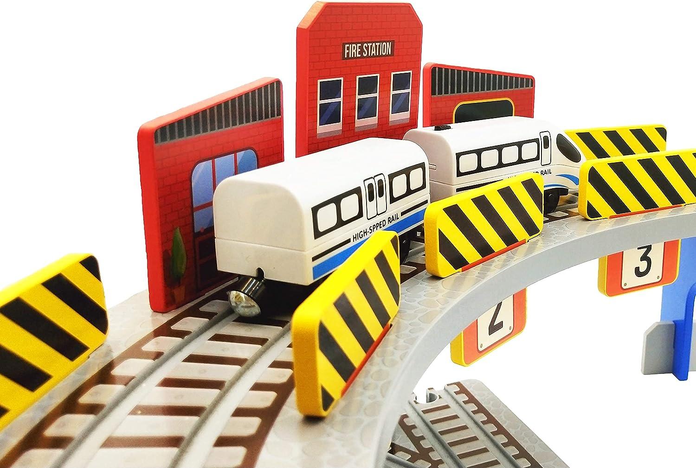 Wooden Train Columbus Mall Track Accessories 1 year warranty of Railway Trac Bridge 3-Way with