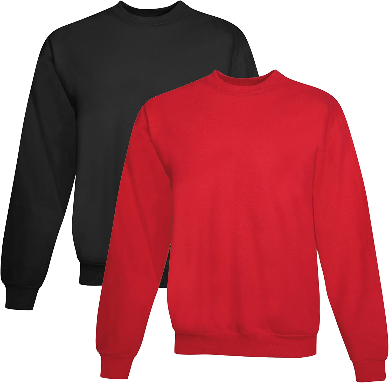 Hanes mens 7.8 oz. ComfortBlend EcoSmart 50/50 Fleece Crew(P1607)-BLACK/DEEP RED-3XL