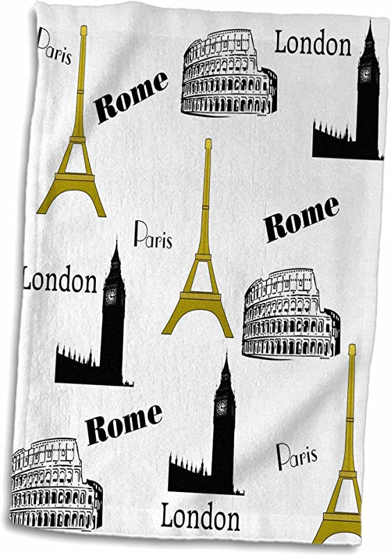 3D Rose Print Of Gold Black White Travel Repeat Pattern Hand Towel 15 X 22 Multicolor