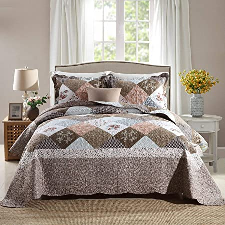 HoneiLife Quilt Set King Size - 3 Piece Microfiber Quilts Reversible Bedspreads Patchwork Coverlet Floral Bedding Set All Season Quilts- Splicing Mocha Rose,King Size