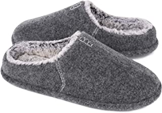Men's Wool Fleece Slippers Lightweight Memory Foam Cushion House Shoes with Handmade Thread Decor