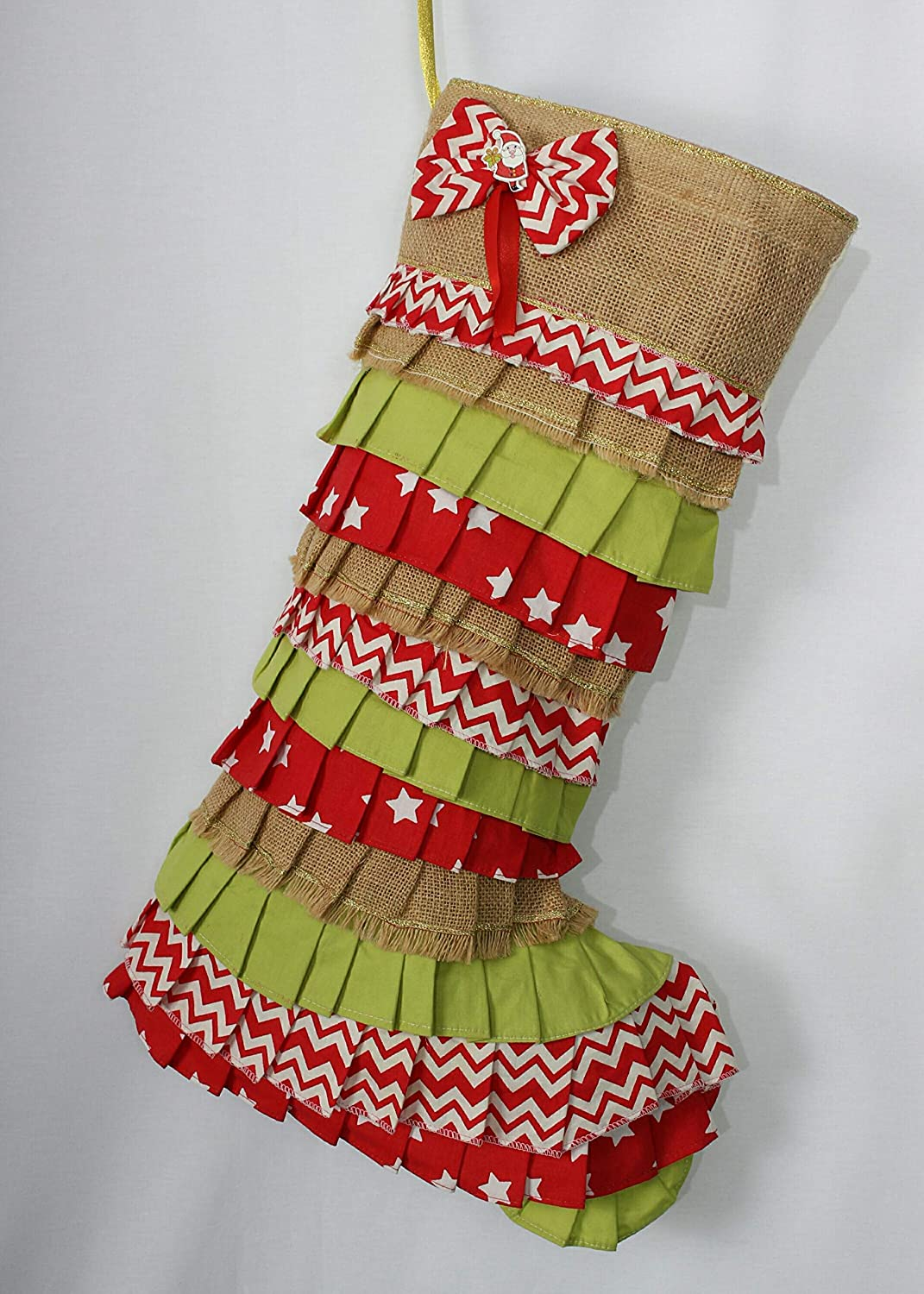 Ruffle Indianapolis Mall Christmas Stocking Chevron Decor Red Credence