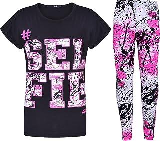 Girls Tops Kids #Selfie Print T Shirt Top & Fashion Splash Legging Set 7-13 Year