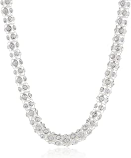 Silver-Tone Crystal Glass Tubular Pave Collar Necklace, 16