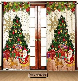 Christmas Shower Curtain, Red Retro Style Car Xmas Tree Vintage Family Style Illustration Snowy Winter Art, Fabric Bathroom Decor Set with Hooks Living Room Bedroom 1 Panels