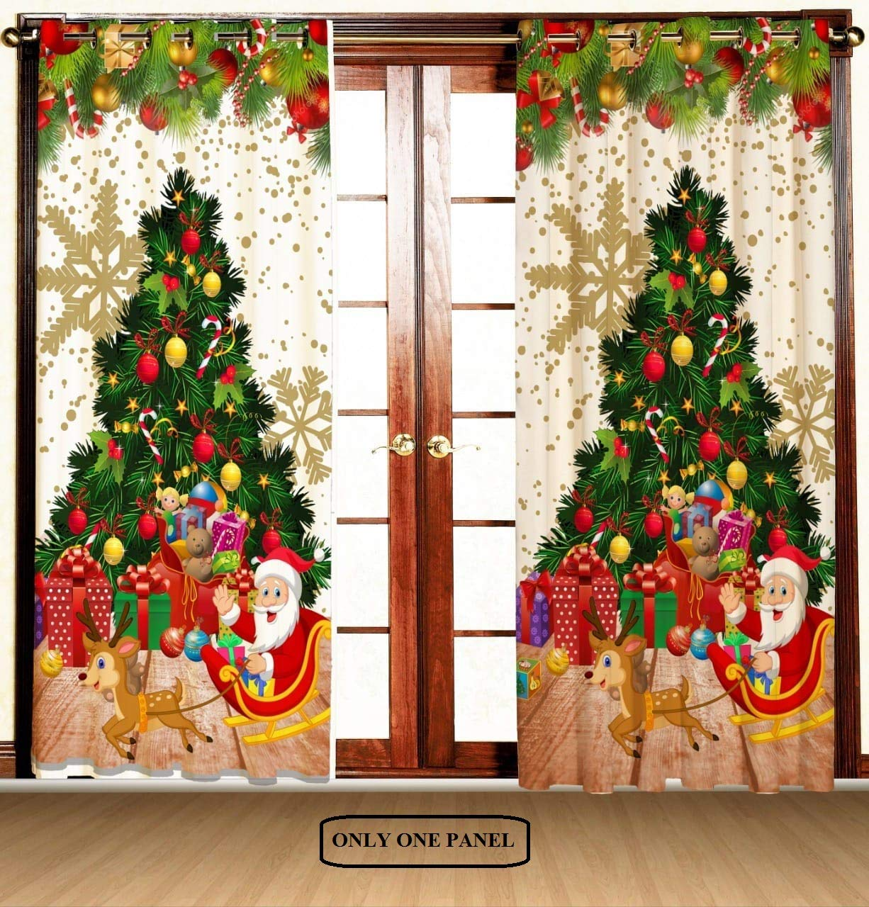 Amazon Com Ekavya Christmas Curtain Red Green Tree Decorations By Xmas Inspired Theme Fir Twigs And Vibrant Balls Santa Claus With Gifts Living Room Bedroom 1 Curtain Only 48 W X 84 L