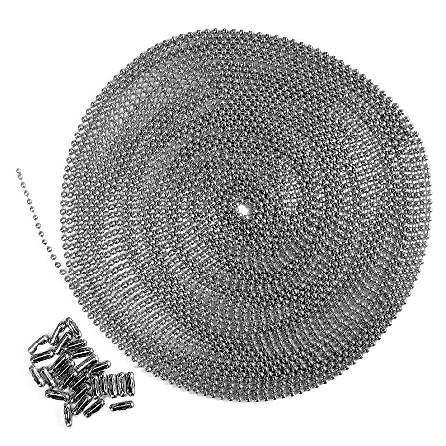 25 Foot Length Ball Chain, Number 3 Size, Stainless Steel, 25 Matching Connectors