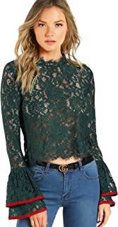 Women's Bell Sleeve See Through Sheer Lace Blouse Crop Top