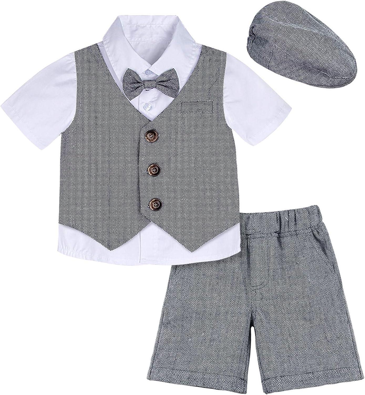 A&J DESIGN Baby Boys Suit Gentleman Shorts Sets, 4pcs Outfit...