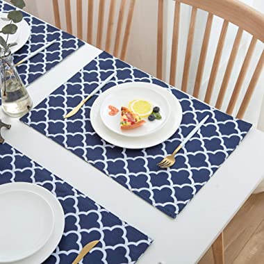 Homcomoda Place Mats for Kitchen Table Waterproof Spillproof Polyester Placemats Geometric Series Trellis for Dinner Table Se