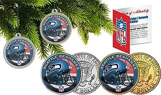 Licensed Seattle Seahawks NFL Christmas Tree Ornament Colorized 24KT Gold JFK Half Dollar 2 Coin Set! W/H COA!