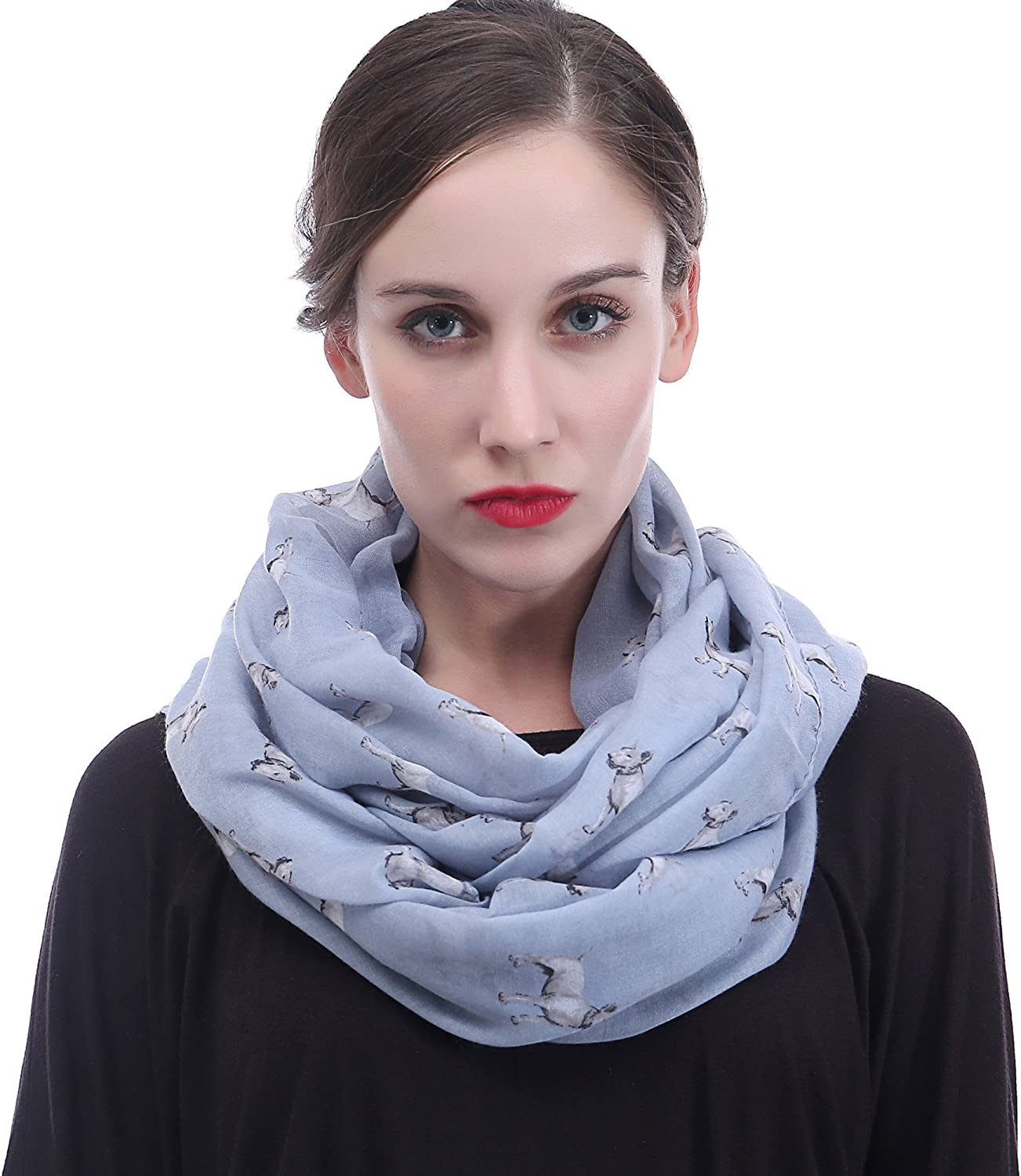 Lina & Lily Bull Terrier Dog Print Infinity Scarf Lightweight