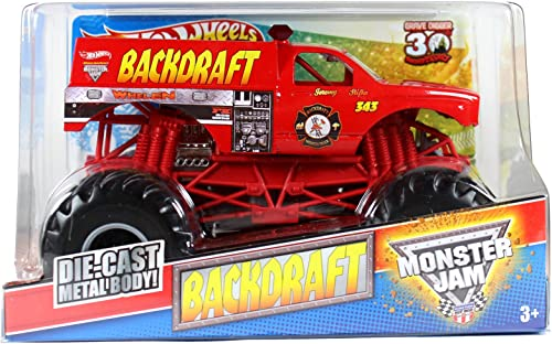 Hot Wtalons Monster Jam 1 24 Scale Die Cast Official Monster Truck 2012 Series - Jeremy Slifko's BACKDRAFT (W3361) with Monster Tires, Working Suspension and 4 Wheel Steebague (DiPour des hommesion - 7 L x 5-1 2 W x 4-1 2 H)