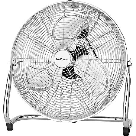 """MVPower Ventilateur de Sol, 16"""" Ventilateur Industriel à volume d'air élevé, Pales Métalliques, Moteur en Cuivre, Finition Chromée, Structure en métal, Tête Inclinable 110°, 3 Niveaux de Vitesse, 100W"""