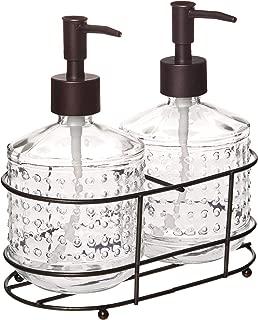 Circleware 32473 Vintage Hobnail Bronze Dispenser Bottle Pumps in Metal Caddy 3-Piece Set of Home Bathroom Accessories, Farmhouse Decor for Essential Oils, Lotions, Liquid Soaps 17.5 oz Clear
