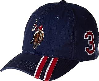 U.S. POLO ASSN. Mens ABPE2406AZ Polo Horse Baseball Cap, Diagonal Stripe Applique Visor Baseball Cap