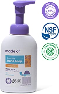 Organic Hand Soap by MADE OF - Dermatologist and Pediatrician Tested - NSF Organic and EWG Verified - for Sensitive Skin and Eczema - Made in USA - 10oz (Sweet Orange, 1-Pack)
