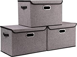 Seckon Collapsible Storage Box Container Bins with Lids Covers[3Pack] Large Odorless Linen Fabric Storage Organizers Cube with Metal Handles for Office, Bedroom, Closet, Toys