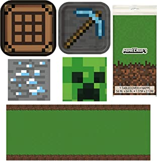 Unique Minecraft Party Table Decorations Dinnerware Bundle - Officially Licensed Dinner and Dessert Paper Plates, Luncheon and Beverage Paper Napkins and Table Cover