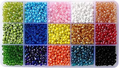 BALABEAD 6000pcs in Box 15 Colors Mixed 6/0 Glass Seed Beads for Jewelry Making Loose Spacer Beads, 4mm Round, Hole 1.2mm (15 Colors)