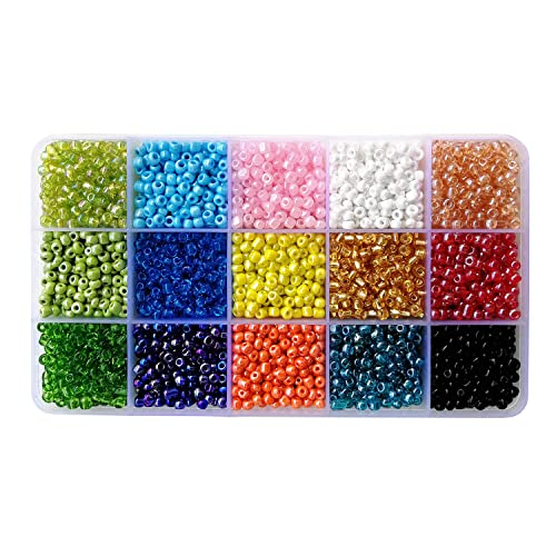 51bcd223beb888 BALABEAD 6000pcs in Box 15 Colors Mixed 6/0 Glass Seed Beads for Jewelry  Making