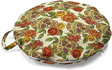 Lunarable Skull Round Floor Cushion with Handle, Floral Sugar Skull Design in Vibrant Colors Mexican Day of The Dead Theme, D
