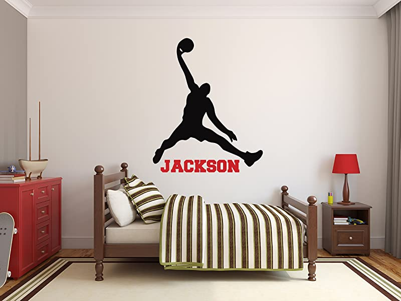 Custom Basketball Name Wall Decals Boy Kids Room Decor Nursery Wall Decals Player Wall Decor Sticker