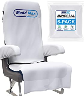 Medd Max Protective Airplane Seat Covers Disposable/Reusable & Armrest Covers – Eco-Friendly Disposable Seat Covers for Airplane, Train, Bus, Ride-Share Car, Fit Most Public Seating, White, Pack of 6