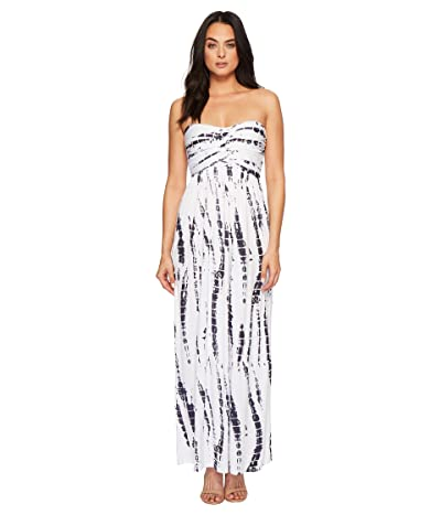 American Rose Liliana Maxi Dress (White/Navy Tie-Dye) Women