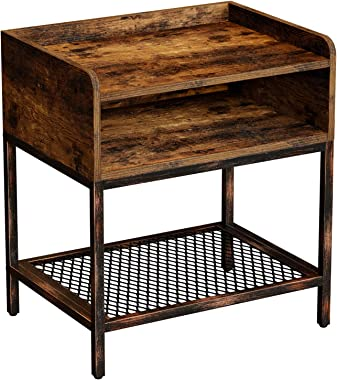 Rolanstar Rustic Nightstand, End Table,Side Table with Iron Mesh Storage Organizer Shelves, Stable Retro Metal Frame, for Bedroom, Living Room, NS001-A
