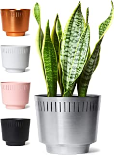 MODN LOVR Mid Century Modern Planter Pot Indoor with Drainage - Large 8.5 Inch Round Stylish Leak Proof Aluminum Houseplant Pots for Home or Office, Succulent and Cactus Holder, Anodized Silver