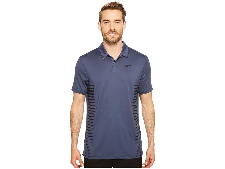 Nike Golf Zonal Cooling Print Polo (Thunder Blue/Dark Obsidian/Black/Flat Silver) Men