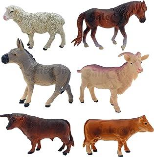 SaleOn 6pc Farm Animal Toys Set Model Children Puzzle Early Education Gift Big Size Farm Animal Toy Set Realistic Animal F...