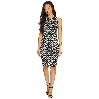 Calvin Klein Jacquard Compression Sheath Dress (Black/White) Women